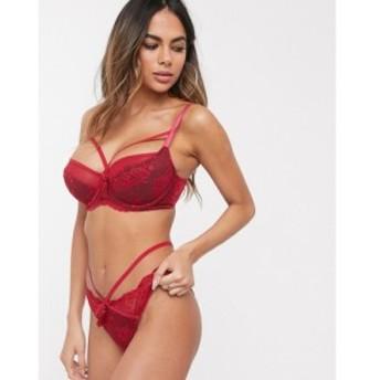 ポアモア Pour Moi レディース ブラジャーのみ インナー・下着 Fuller Bust Sensation lace and mesh bra with strapping in red レッド