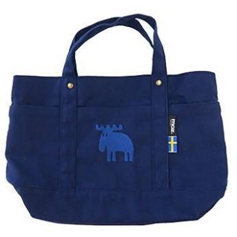【選べる5色】ポケットがたくさん付いていて使いやすい。帆布素材の生地に、刺繍された同色のエルクがアクセント《moz 帆布トート Mサイズ》 レディースバッグ トートバッグ ブルー au WALLET Market