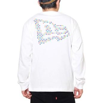 [ニューエラ] ロンT メンズ 長袖Tシャツ ドット フラッグロゴ ホワイト 白 12325234 M