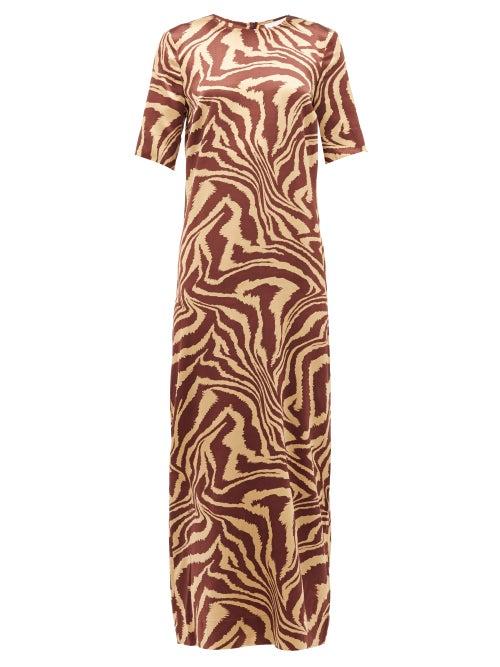 Ganni - Zip-hem Tiger-print Silk-blend Dress - Womens - Multi