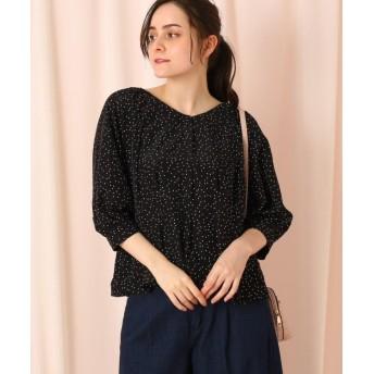 クチュールブローチ ペプラムドットブラウス レディース ブラック(119) 38(M) 【Couture Brooch】