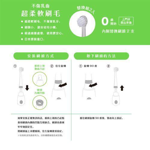 日本Baby smile 音波式第三代鑽石炫彩LED兒童電動牙刷-替換刷頭0才+(軟毛) 165元
