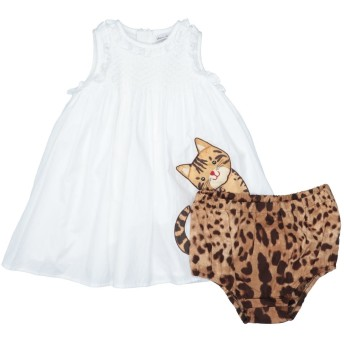 《セール開催中》DOLCE & GABBANA ガールズ 0-24 ヶ月 ワンピース・ドレス ホワイト 9 コットン 100%