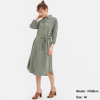 (GU)リネンブレンドシャツワンピース(7分袖) OLIVE XL