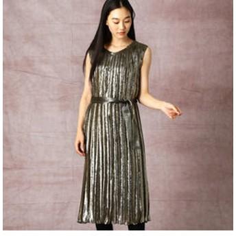 【COMME CA:ワンピース】メタリックラメ プリーツドレス