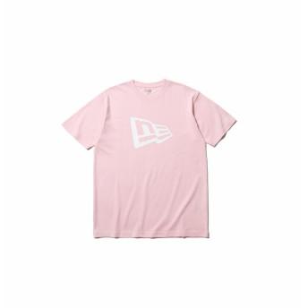 NEW ERA ニューエラ コットン Tシャツ フラッグロゴ ライトピンク × ホワイト レギュラーフィット 半袖 ウェア メンズ レディース Large 11782996 NEWERA