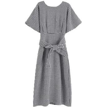 レディーススリムバックレス半袖気質ドレス Genry (Color : A, Size : M)