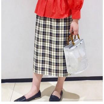 【FREDY & GLOSTER:スカート】チェックロングタイトスカート