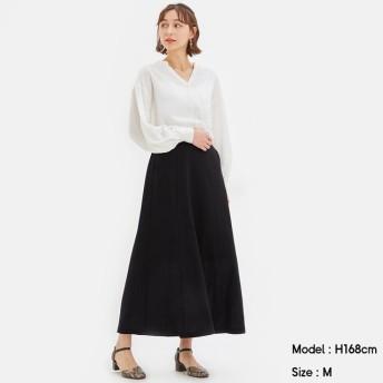 (GU)リネンブレンドフレアロングスカート BLACK XS