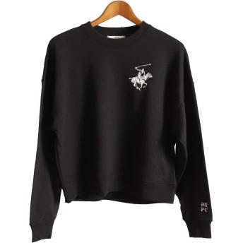 [ビバリーヒルズポロクラブ] [BEVERLY HILLS POLO CLUB] ビバリー トレーナー クルーネック スウェット レディース トップス ファッション ブラック Lサイズ