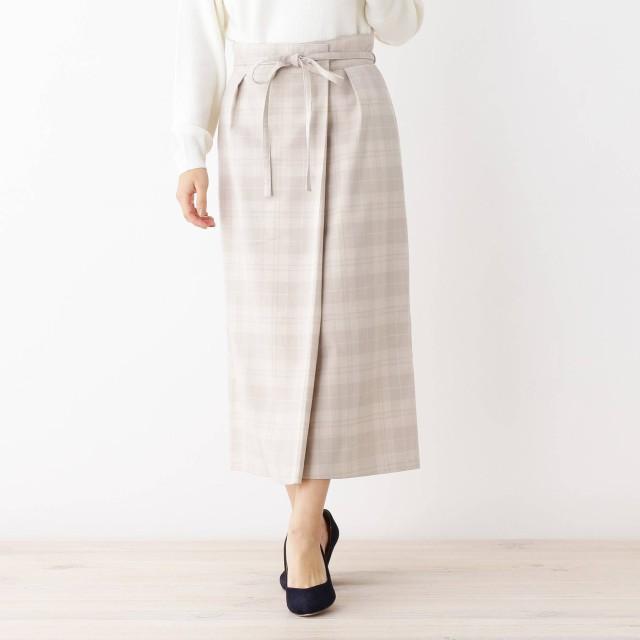 OPAQUE.CLIP(オペーク ドット クリップ)/【洗える・42(LL)WEB限定サイズ】チェックナローラップスカート