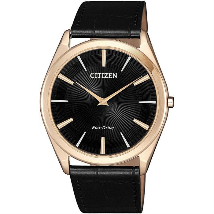 CITIZEN星辰 AR3073-06E 質感簡約光動能腕錶 /黑面 38.4mm