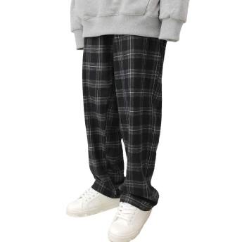 Bullang レディース マッフル バンディング チェック パンツ 3色 韓国ファッション (ブラック)