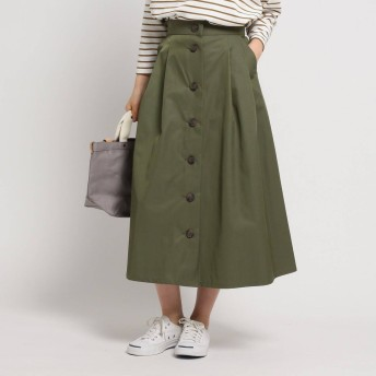 デッサン Dessin 【Sサイズあり・洗える】コットンブレンドフレアボタンスカート (カーキ)