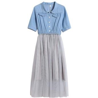 女性長袖ドレス 夏の甘い、小さくて新鮮な、かわいいデニムステッチメッシュの女性の半袖ドレス (Color : Blue, Size : M)