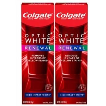 【最新版】コルゲート Colgate オプティックホワイト リニュー ホワイトニング 歯磨き粉 ハイインパクト ホワイト 85g 【2個セット】 ツ