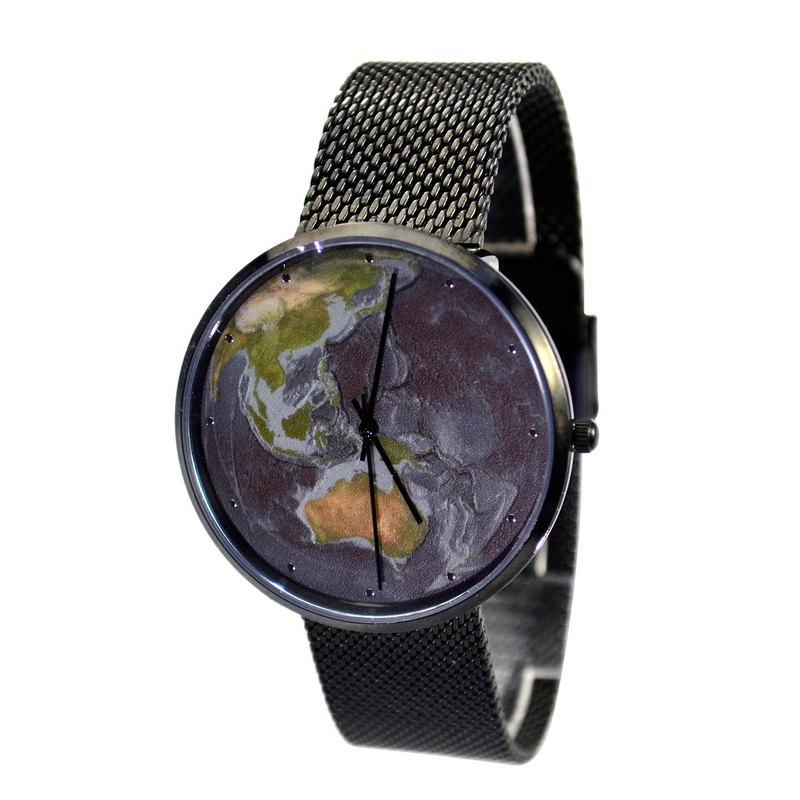 nameless 藍地球手錶 配米蘭帶 黑色 全球免運