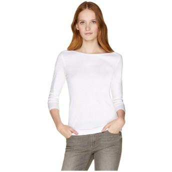 BENETTON (women) ボートネック7分袖Tシャツ・カットソー(ホワイト)