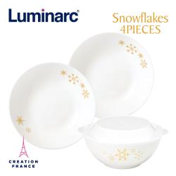 【Luminarc 樂美雅】雪花4件式餐具組(ARC-408-SF)