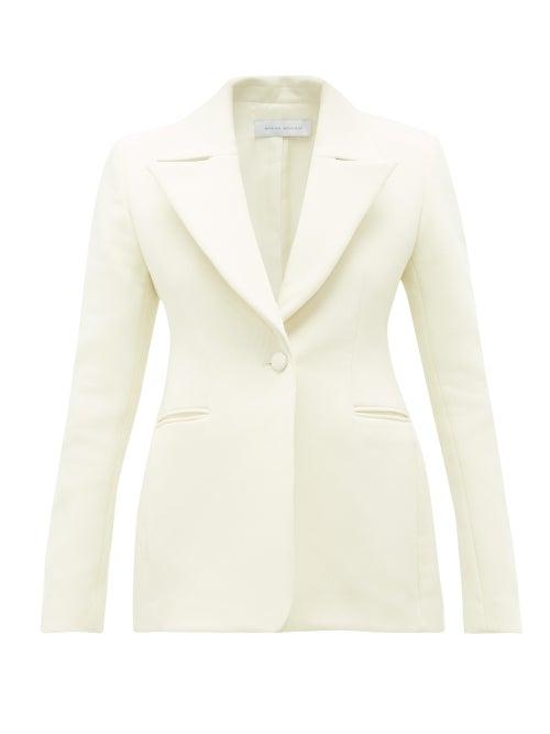 Marina Moscone - Basque Single-breasted Cotton-blend Blazer - Womens - Ivory