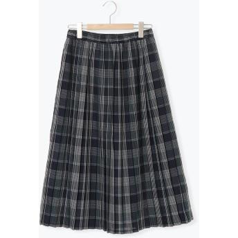 【6,000円(税込)以上のお買物で全国送料無料。】リネン混プリーツスカート