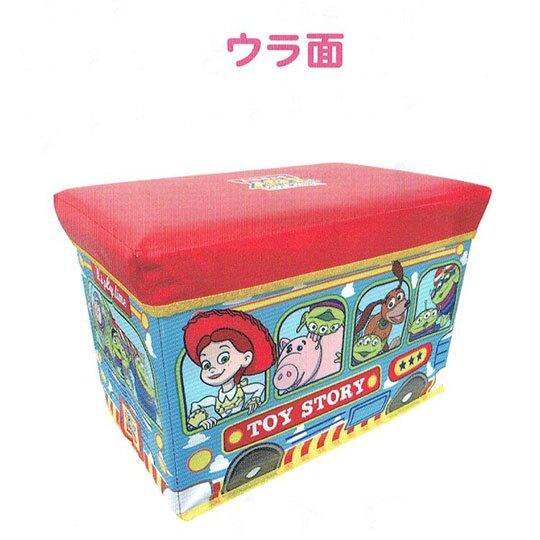 小禮堂 迪士尼 玩具總動員 折疊收納箱座椅《紅藍.公車》玩具箱.儲物椅.置物箱