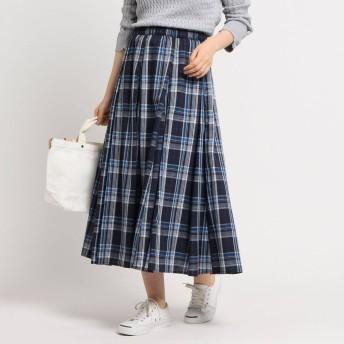 デッサン Dessin 【XS〜Lサイズあり・洗える】ガーゼチェックスカート (ネイビー)