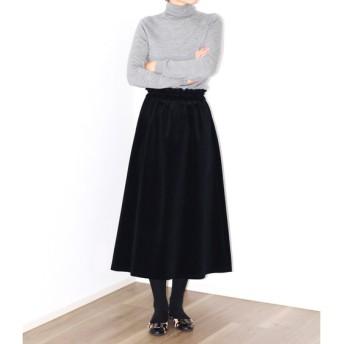 濃紺 コーデュロイ ギャザーフレアロングスカート【着丈・ウエスト調節可】