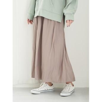 【オンワード】 Green Parks(グリーンパークス) サテンギャザースカート Gray F レディース 【送料無料】
