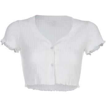 LilyAngel 女性のセクシーなVネックボタンダウンクロップTシャツトップス (色 : ホワイト, サイズ : S)