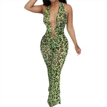 エロ服 深いVネックの女性のファッションロングジャンプスーツベルトバインディングルーズシースルージャンプスーツ (Color : Green, Size : L)