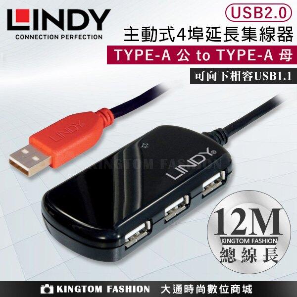 LINDY 林帝 USB 2.0 TYPE-A/公 TO TYPE-A母 主動式4埠延長集線器 12M