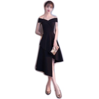 Linannau レディースエレガントなセクシーなワンショルダーバースデーパーティーの宴会ドレス (色 : ブラック, サイズ : S)