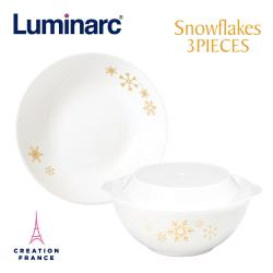 【Luminarc 樂美雅】雪花3件式餐具組(ARC-302-SF)