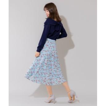 (Rewde/ルゥデ)シアーチェックフラワースカート(0R10-02145)/レディース サックス