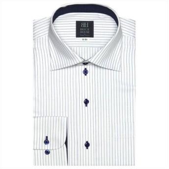 (BRICKHOUSE/ブリックハウス)ワイシャツ 長袖 形態安定 ワイド 白×ブルーストライプ 標準体/メンズ ブルー