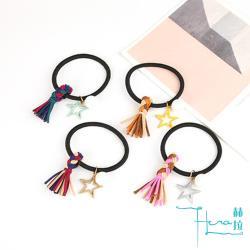 Hera 赫拉 撞色編織麻花五角星珍珠發圈皮筋髮繩-4色