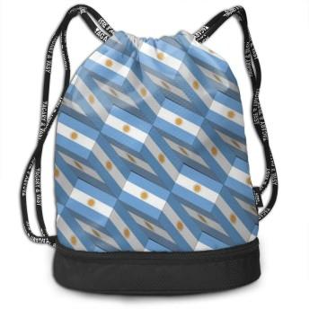 アルゼンチンフラグ3 dアートパターン ユニセックス多目的スポーツバンドルドローストリングバックパック耐久大空間ジム屋外バッグ