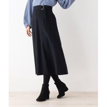 【OPAQUE. CLIP:スカート】【34(SS) 42(LL)WEB限定サイズ】サイドバックル付きフレアスカート