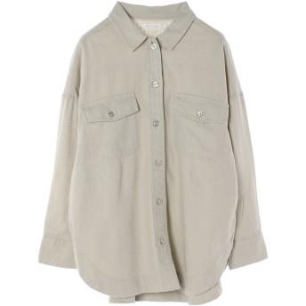 【6,000円(税込)以上のお買物で全国送料無料。】リネンブレンドWポケットBIGシャツ