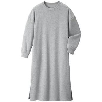 【レディース】 軽くて暖か裏起毛ワンピース - セシール ■カラー:グレー ■サイズ:M,L,LL,3L