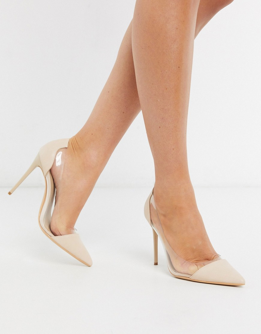 Truffle Collection clear stiletto heeled shoes in beige-Multi