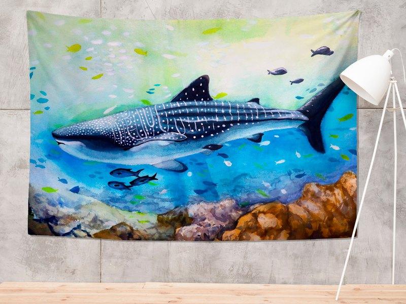 豆腐鯊點點 spot whale shark 鯨鯊水彩掛布/布幔