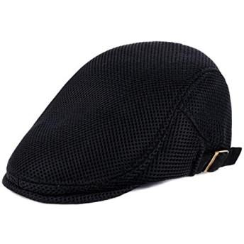 服装やファッションアクセサリー ぼうし CZ男性英国スタイルのソリッドカラーダック舌前方キャップメッシュ布ベレー帽(ブラック) (色 : ブラック)