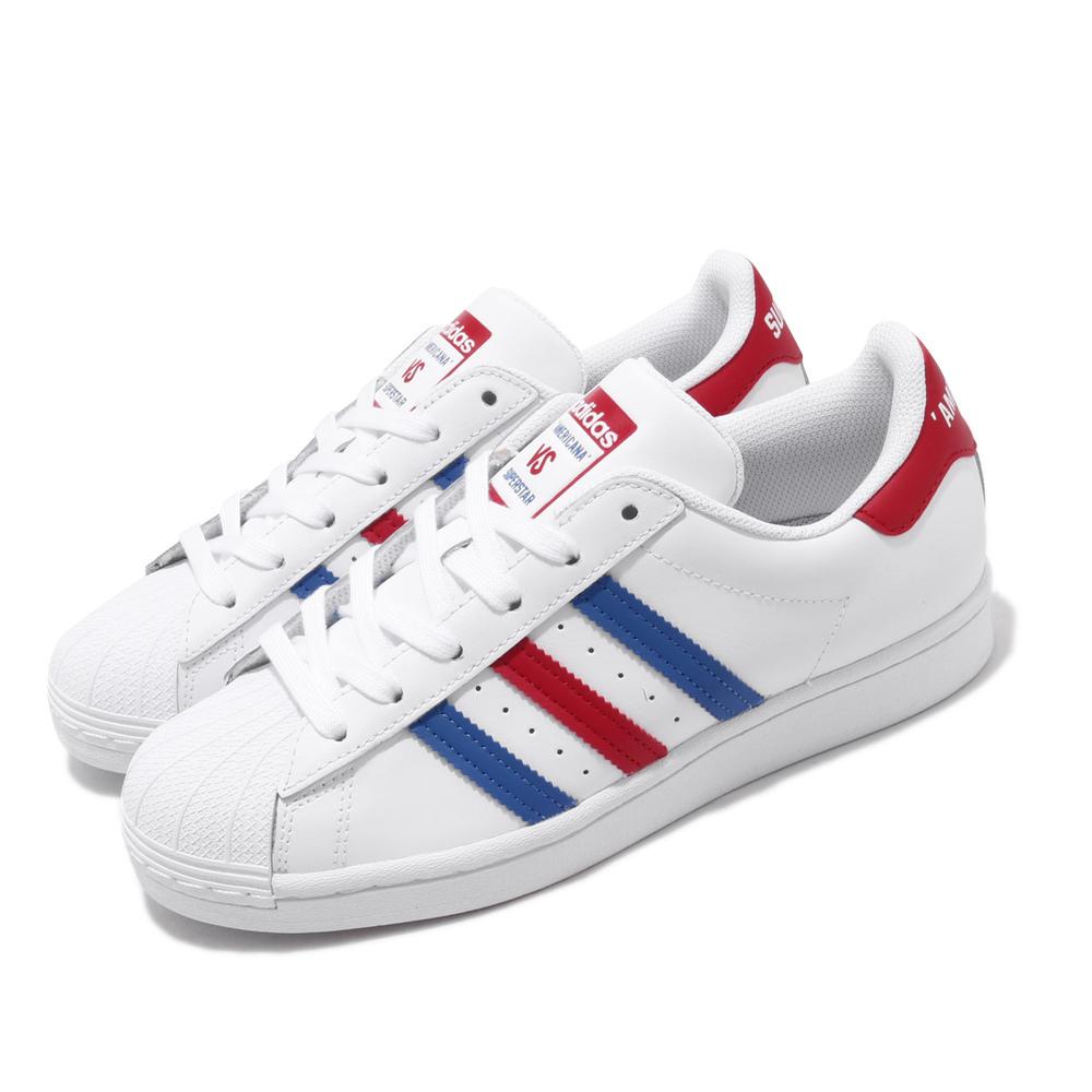 ADIDAS 休閒鞋 Superstar 復古 皮革 男鞋 愛迪達 AMERICANA標 經典貝殼鞋 白藍紅 [FV2806]