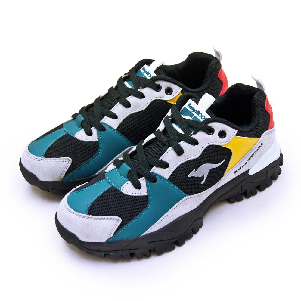 【男】 KangaROOS 經典撞色復古越野慢跑鞋 JOGGER藍標老爹鞋系列 黑灰彩 91281