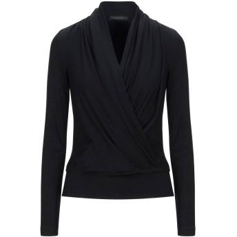 《セール開催中》PLEIN SUD レディース T シャツ ブラック 42 バージンウール 92% / ポリウレタン 8%