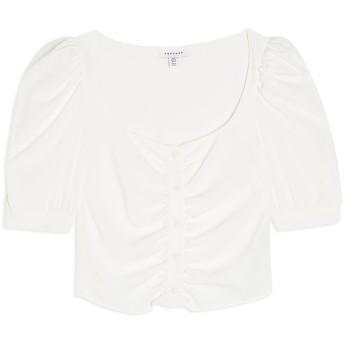 《セール開催中》TOPSHOP レディース シャツ ホワイト 6 ポリエステル 100% IVORY BUTTON PRAIRIE SHORT SLEEVE BLOUSE