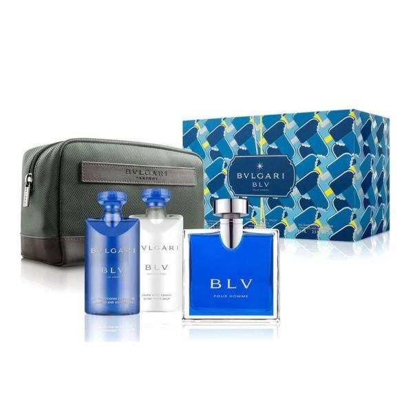 BVLGARI 寶格麗藍茶男性經典香氛禮盒-淡香水100ML+沐浴膠75ML+鬍後乳75ML+盥洗包