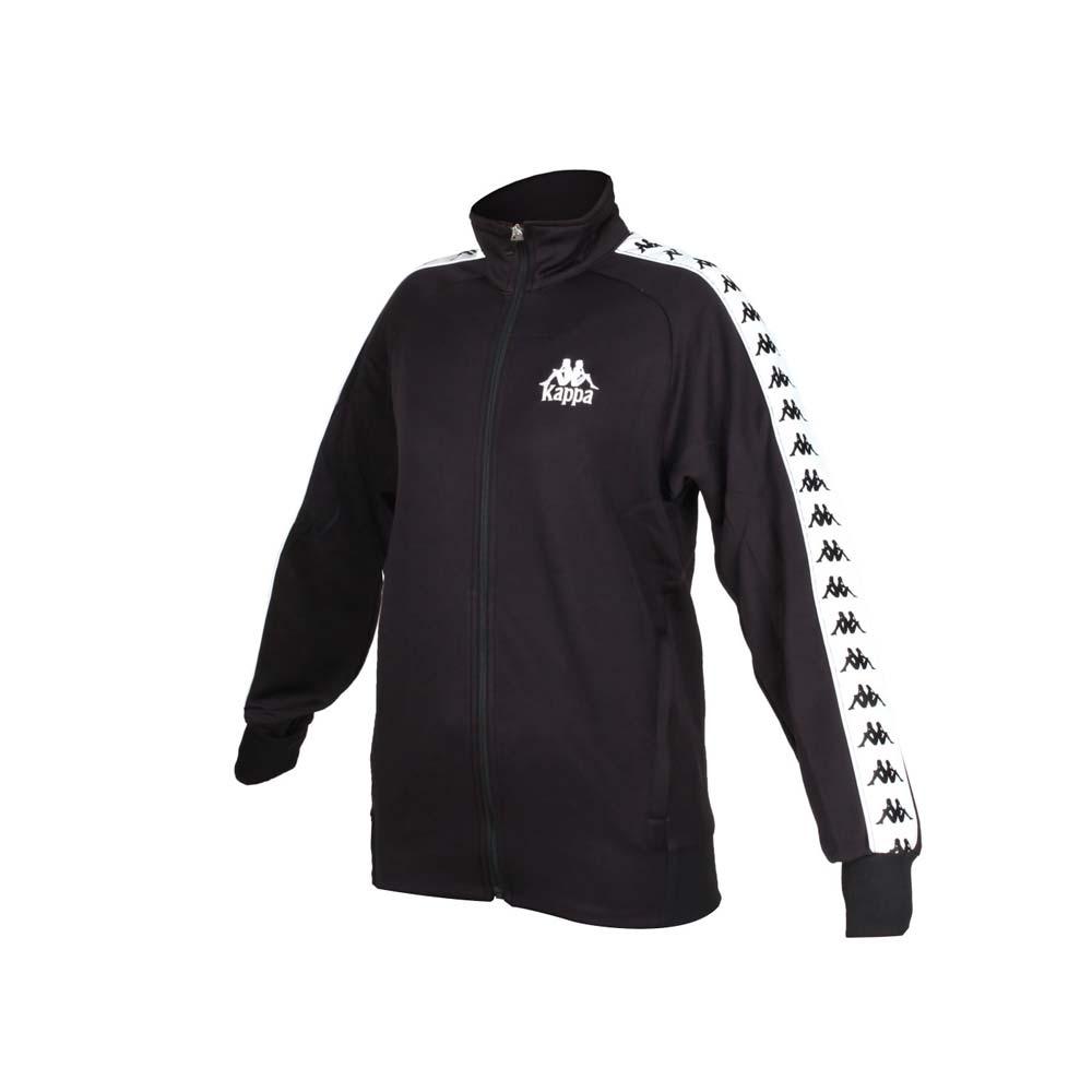 KAPPA 男女針織運動外套-立領外套 慢跑 運動 經典 休閒 黑白